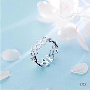 Silver filigree adjustable ring